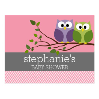 Cute Owls on Branch Baby Girl Shower Pink Postcard