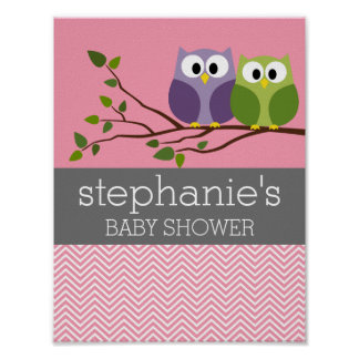 Cute Owls on Branch Baby Girl Shower Pink Poster