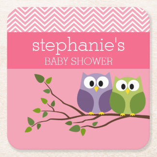 Cute Owls on Branch Baby Girl Shower Pink Square Paper Coaster