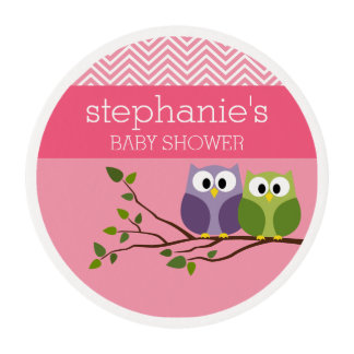 Cute Owls on Branch Baby Girl Shower Pink Edible Frosting Rounds