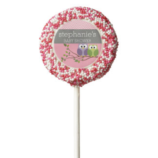 Cute Owls on Branch Baby Girl Shower Pink Chocolate Dipped Oreo Pop