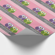 Cute Owls on Branch Baby Girl Shower Pink Wrapping Paper