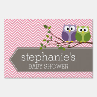 Cute Owls on Branch Baby Girl Shower Pink Yard Sign