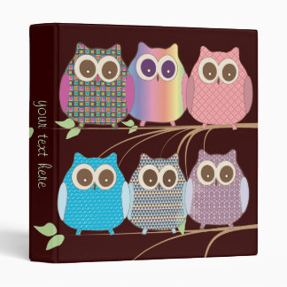 Cute Owls on Branches, Assorted Colors Vinyl Binder