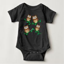Cute Owls on Branches Baby Black One Piece Tshirt