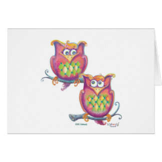 Cute Owls on branches greeting card