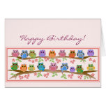 Cute Owls on brenches & text Birthday card