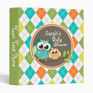 Cute Owls on Colorful Argyle; Baby Shower 3 Ring Binder