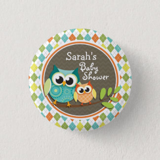 Cute Owls on Colorful Argyle; Baby Shower Button