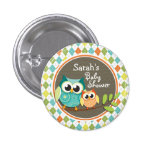 Cute Owls on Colorful Argyle; Baby Shower 1 Inch Round Button