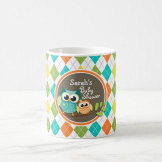 Cute Owls on Colorful Argyle Baby Shower Mug