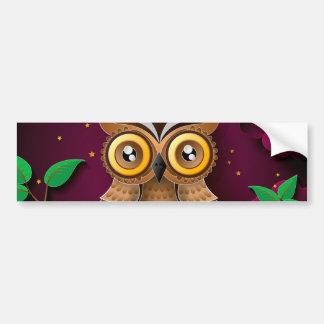 Cute Owls on Colorful Branches green purple Car Bumper Sticker