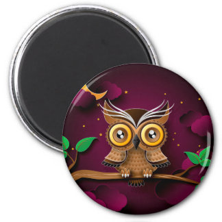 Cute Owls on Colorful Branches green purple 2 Inch Round Magnet