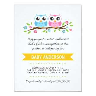Cute owls on floral branch baby reveal party card