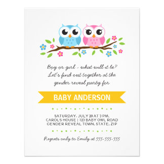 Cute owls on floral branch baby reveal party custom invite