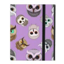 Cute Owls on Purple Background iPad Folio Case