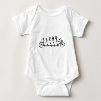 cute owls on tandem bicycle baby bodysuit