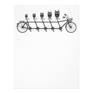 cute owls on tandem bicycle personalized letterhead