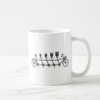 cute owls on tandem bicycle coffee mug