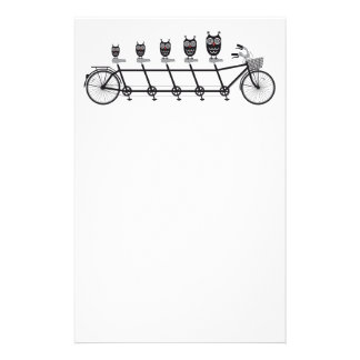 cute owls on tandem bicycle stationery paper