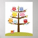 Cute owls on tree illustration print