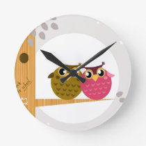 Cute owls on tree Original art Illustration Round Clock