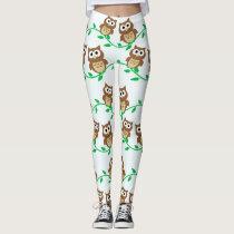 Cute Owls on Vines Leggings