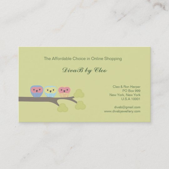 Cute owls online shop etsy fashion business cards zazzle cute owls online shop etsy fashion business cards reheart Images