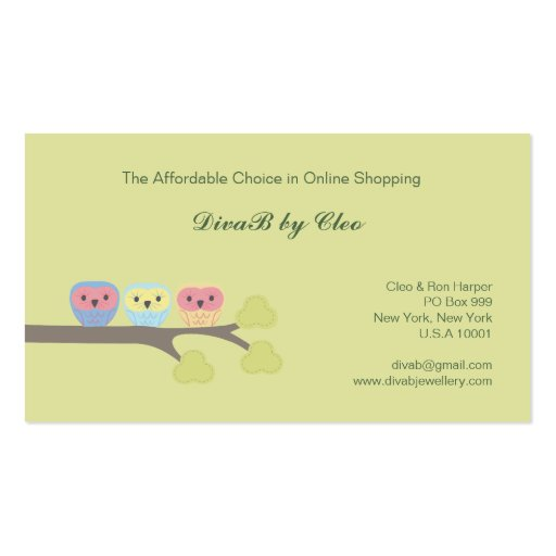 Cute Owls line Shop Etsy Fashion Business Cards