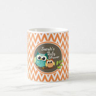 Cute Owls Orange and White Chevron Baby Shower Mug