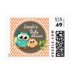 Cute Owls; Orange and White Chevron; Baby Shower Postage