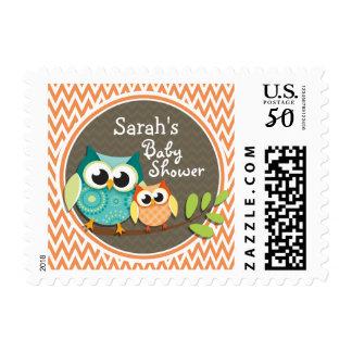 Cute Owls; Orange and White Chevron; Baby Shower Postage