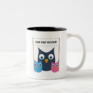 "Cute Owls - ""Our Dad rocks!"" - Father's Day Two-Tone Coffee Mug"
