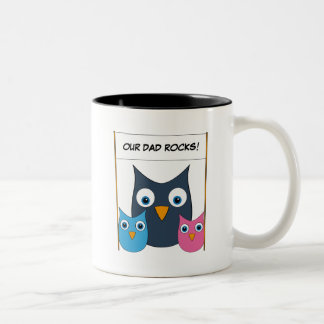 "Cute Owls - ""Our Dad rocks!"" - Father's Day Two-Tone Coffee Mug"
