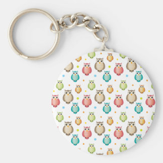 Cute Owls Pattern Keychain