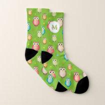 Cute Owls Pattern Monogram Socks
