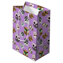 Cute Owls Pattern on Purple Background Medium Gift Bag