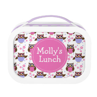Cute Owls Pattern Personalized Lunch Box at Zazzle