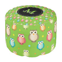 Cute Owls Pattern with Monogram Pouf