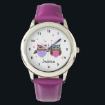 "Cute Owls Personalized Girl&#39;s Watch<br><div class=""desc"">Cute watch for young girls featuring whimsical little owl friends and pink flowers  with a place to add your childs name .</div>"