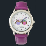 """Cute Owls Personalized Girl&#39;s Watch<br><div class=""""desc"""">Cute watch for young girls featuring whimsical little owl friends and pink flowers  with a place to add your childs name .</div>"""