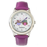 Cute Owls Personalized Girl&#39;s Watch<br><div class='desc'>Cute watch for young girls featuring whimsical little owl friends and pink flowers  with a place to add your childs name .</div>