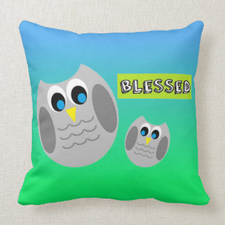"""Cute Owls Pillow """"Blessed"""""""