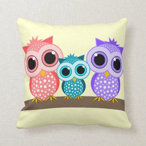 cute owls pillows Zazzle