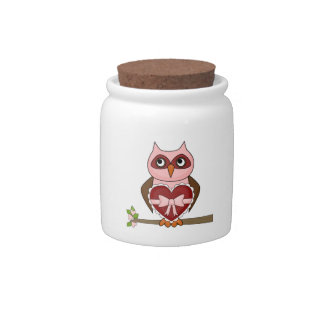 Cute Owls Pink Brown Cartoon Owl Spare Change Bank Candy Jars