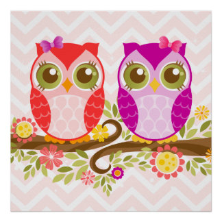Cute Owls - Pink & Purple Girls - Wall Poster