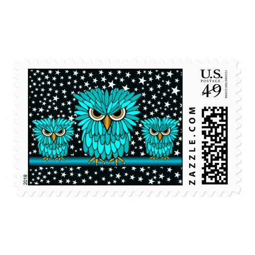 cute owls postage stamps