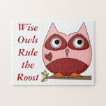 Cute Owls Red and Pink Cartoon Owl Small Heart Jigsaw Puzzles