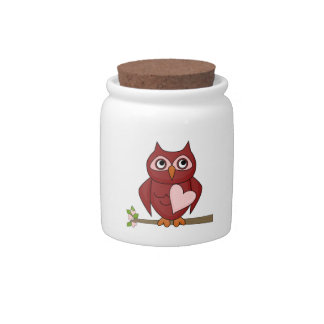 Cute Owls Red Cartoon Owl Heart Spare Change Bank Candy Jar
