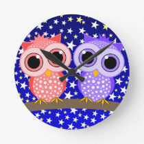 cute owls round clock